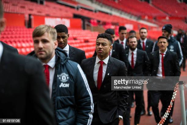 Marcus Rashford and Jesse Lingard of Manchester United attend a service to commemorate the 60th anniversary of the Munich Air Disaster at Old...