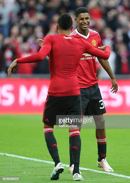 Marcus Rashford and Jesse Lingard of Manchester United celebrate at the final whistle of the Emirates FA Cup Semi Final match between Manchester...