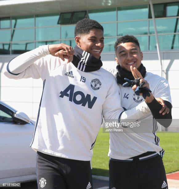 Marcus Rashford and Jesse Lingard of Manchester United in action during a first team training session at Aon Training Complex on April 22 2017 in...