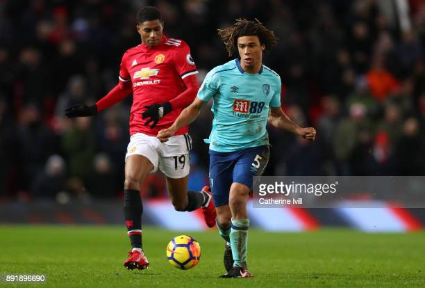 Marcus Rashford and Nathan Ake of AFC Bournemouth of Manchester United during the Premier League match between Manchester United and AFC Bournemouth...