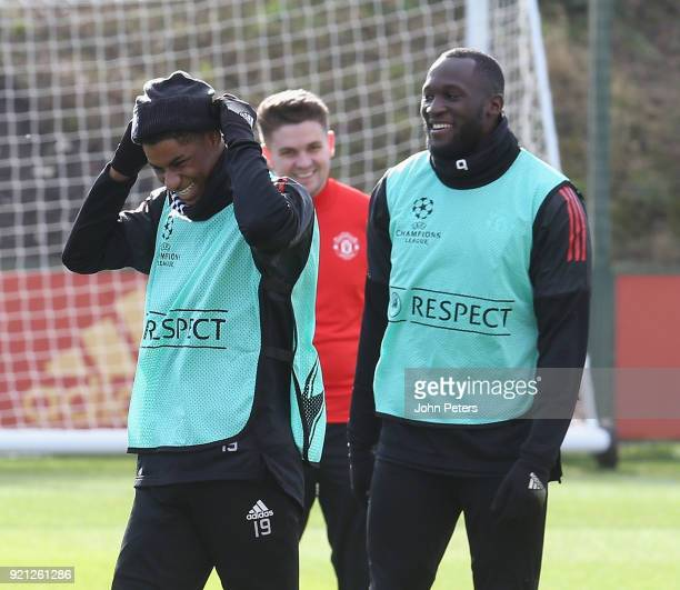 Marcus Rashford and Romelu Lukaku of Manchester United in action during a first team training session at Aon Training Complex on February 20 2018 in...