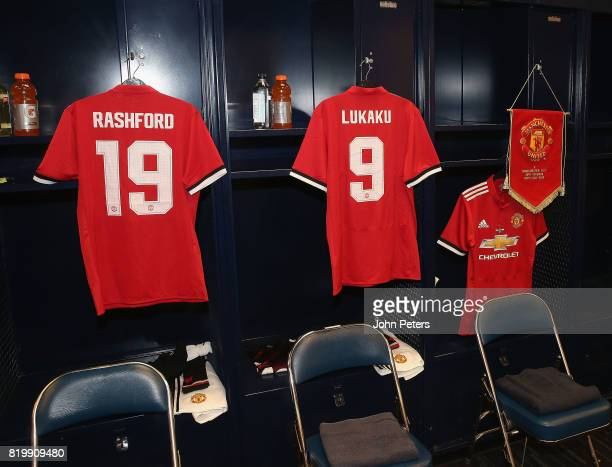 Marcus Rashford and Romelu Lukaku of Manchester United shirts are laid out ahead of the preseason friendly International Champions Cup 2017 match...