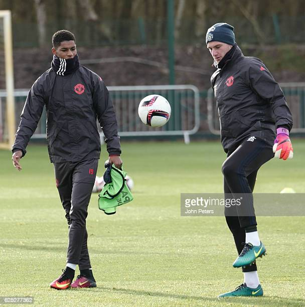 Marcus Rashford and Sam Johnstone of Manchester United in action during a first team training session at Aon Training Complex on November 23 2016 in...