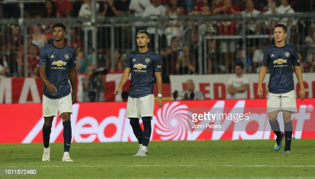 Marcus Rashford Andreas Pereira and Ander Herrera of Manchester United react to Javi Martinez scoring their first goal during the preseason friendly...