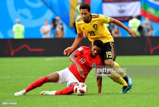 Marcus Rashford forward of England Moussa Dembele midfielder of Belgium during the FIFA 2018 World Cup Russia Playoff for third place match between...