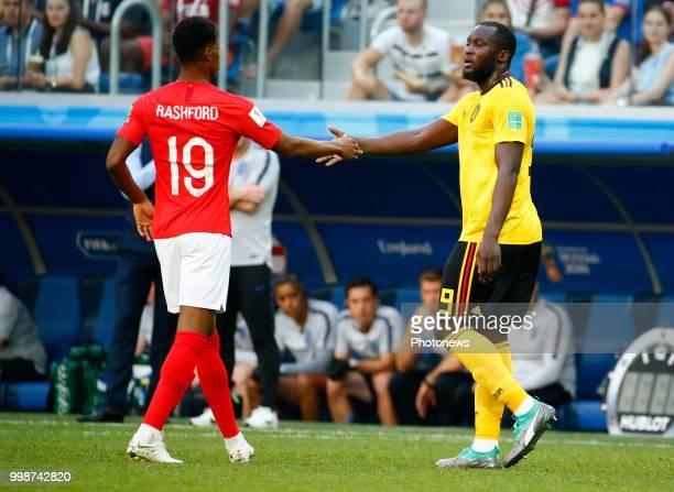 Marcus Rashford forward of England Romelu Lukaku forward of Belgiumduring the FIFA 2018 World Cup Russia Playoff for third place match between...