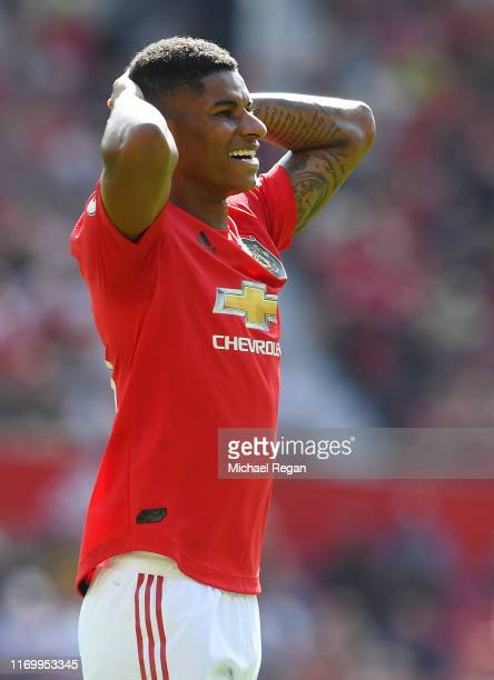 Marcus Rashford looks dejected during the Premier League match between Manchester United and Crystal Palace at Old Trafford on August 24 2019 in...