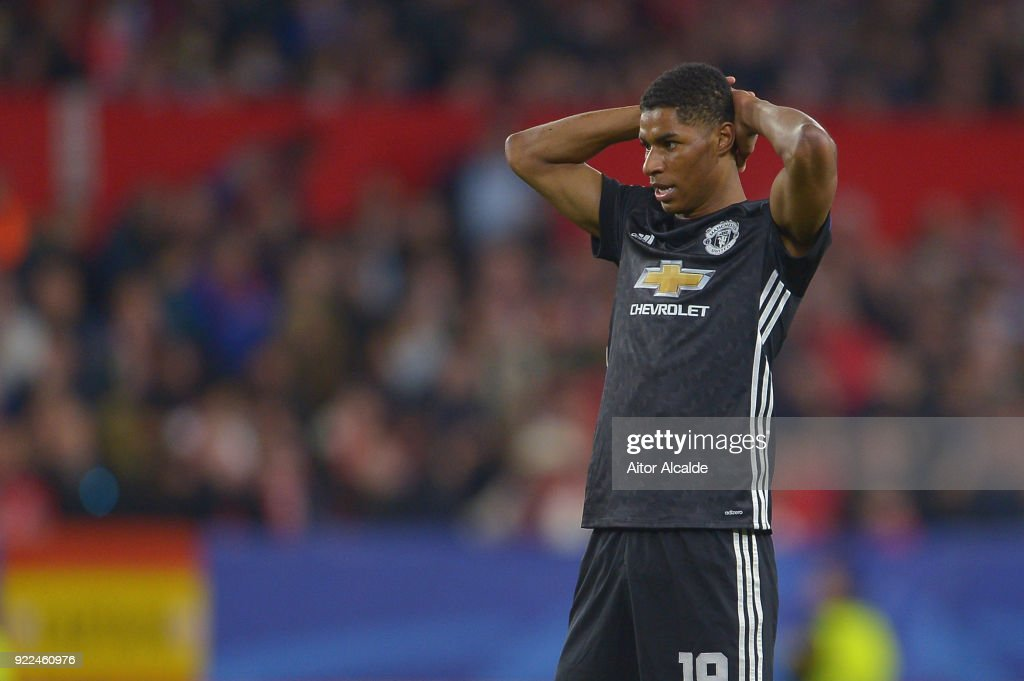 Marcus Rashford looks dejected during the UEFA Champions League Round of 16 First Leg match between Sevilla FC and Manchester United at Estadio Ramon Sanchez Pizjuan on February 21, 2018 in Seville, Spain.