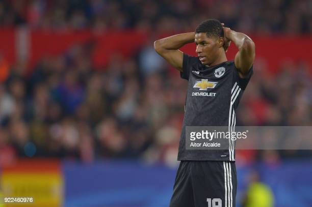 Marcus Rashford looks dejected during the UEFA Champions League Round of 16 First Leg match between Sevilla FC and Manchester United at Estadio Ramon...