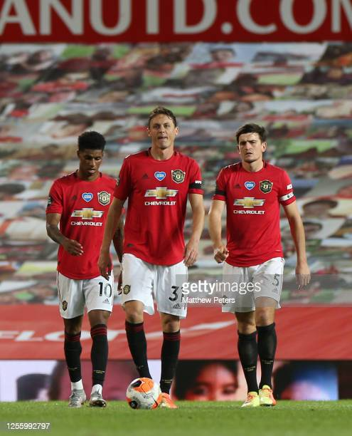 Marcus Rashford Nemanja Matic Harry Maguire of Manchester United react to conceding a goal to Michael Obafemi of Southampton FC during the Premier...