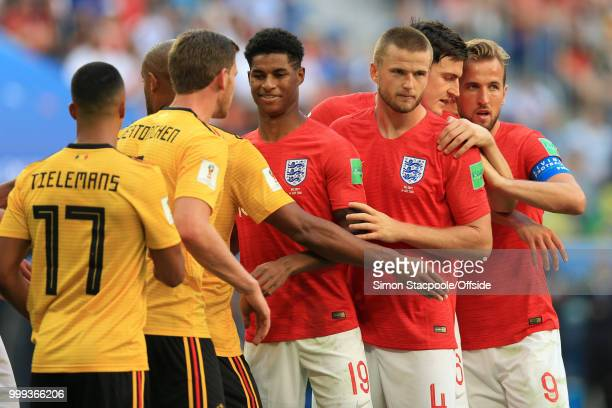 Marcus Rashford of England and Eric Dier of England line up to attack a free kick during the 2018 FIFA World Cup Russia 3rd Place Playoff match...