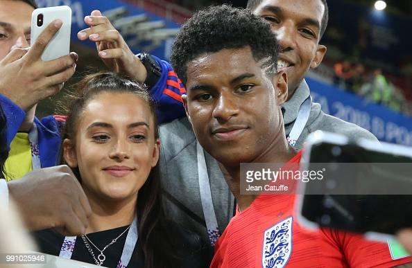 Marcus Rashford of England and girlfriend Lucia Loi joins ...