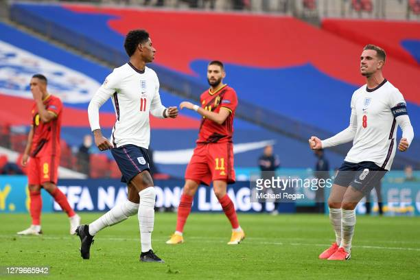 Marcus Rashford of England celebrates after he scores his team's first goal from the penalty spot during the UEFA Nations League group stage match...