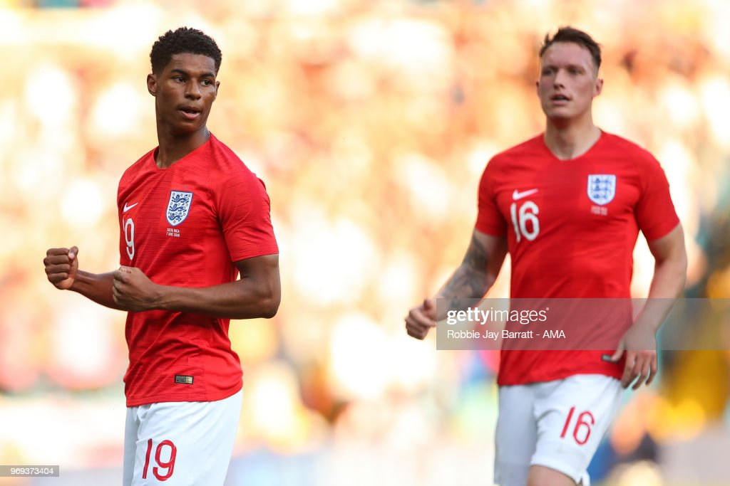 Marcus Rashford of England celebrates after scoring a goal to make it 1-0 during the International Friendly match between England and Costa Rica at Elland Road on June 7, 2018 in Leeds, England.