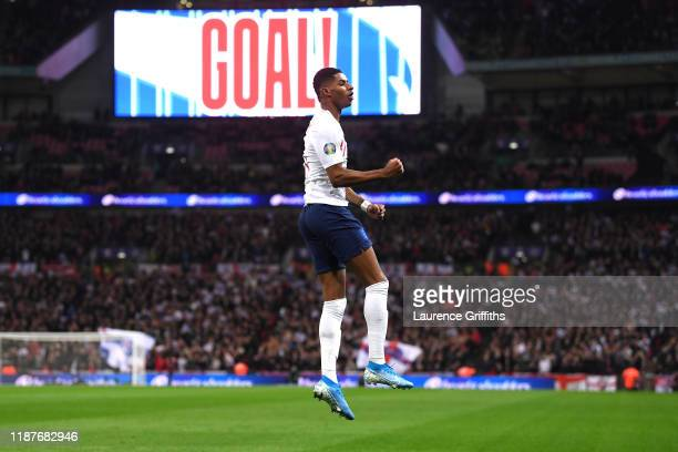 Marcus Rashford of England celebrates after scoring his sides fourth goal during the UEFA Euro 2020 qualifier between England and Montenegro at...