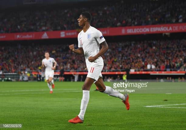 Marcus Rashford of England celebrates as he scores his team's second goal during the UEFA Nations League A Group Four match between Spain and England...