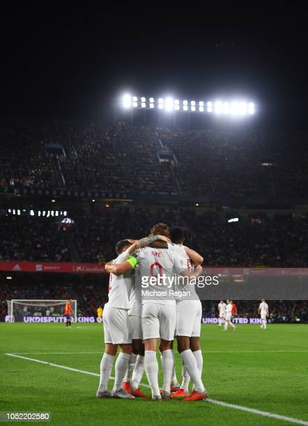 Marcus Rashford of England celebrates as he scores his team's second goal with team mates during the UEFA Nations League A Group Four match between...