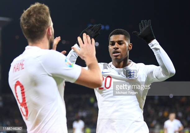 Marcus Rashford of England celebrates his sides second goal with goalscorer Harry Kane during the UEFA Euro 2020 Qualifier between Kosovo and England...