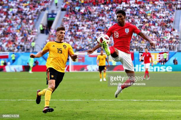 Marcus Rashford of England controls the ball in the air during the 2018 FIFA World Cup Russia 3rd Place Playoff match between Belgium and England at...