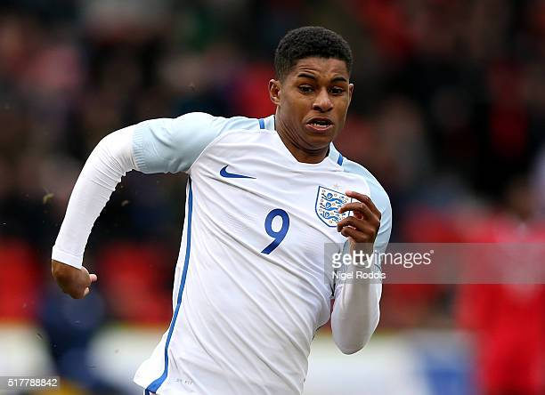 Marcus Rashford of England during the U20 International Friendly match between England and Canada at the Keepmoat Stadium on March 27 2016 in...