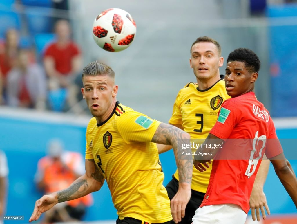 Marcus Rashford (19) of England in action against Toby Alderweireld (2) of Belgium during the 2018 FIFA World Cup 3rd place match between Belgium and England at the Saint Petersburg Stadium in Saint Petersburg, Russia on July 14, 2018.