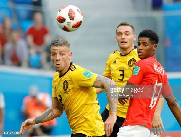 Marcus Rashford of England in action against Toby Alderweireld of Belgium during the 2018 FIFA World Cup 3rd place match between Belgium and England...