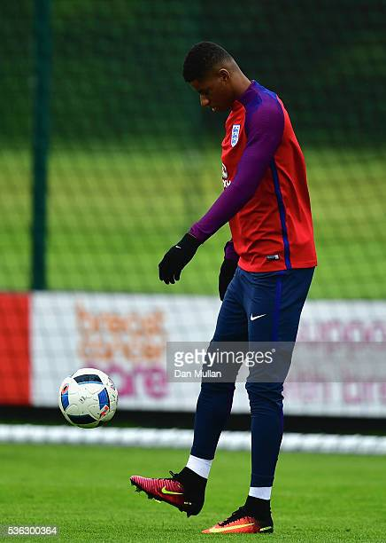 Marcus Rashford of England in action during an England training session at London Colney on June 1 2016 in St Albans England