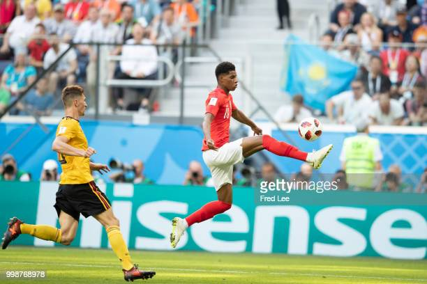 Marcus Rashford of England in action during the 2018 FIFA World Cup Russia 3rd Place Playoff match between Belgium and England at Saint Petersburg...