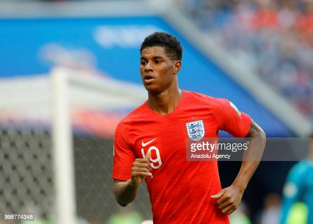 Marcus Rashford of England in action during the 2018 FIFA World Cup 3rd place match between Belgium and England at the Saint Petersburg Stadium in...