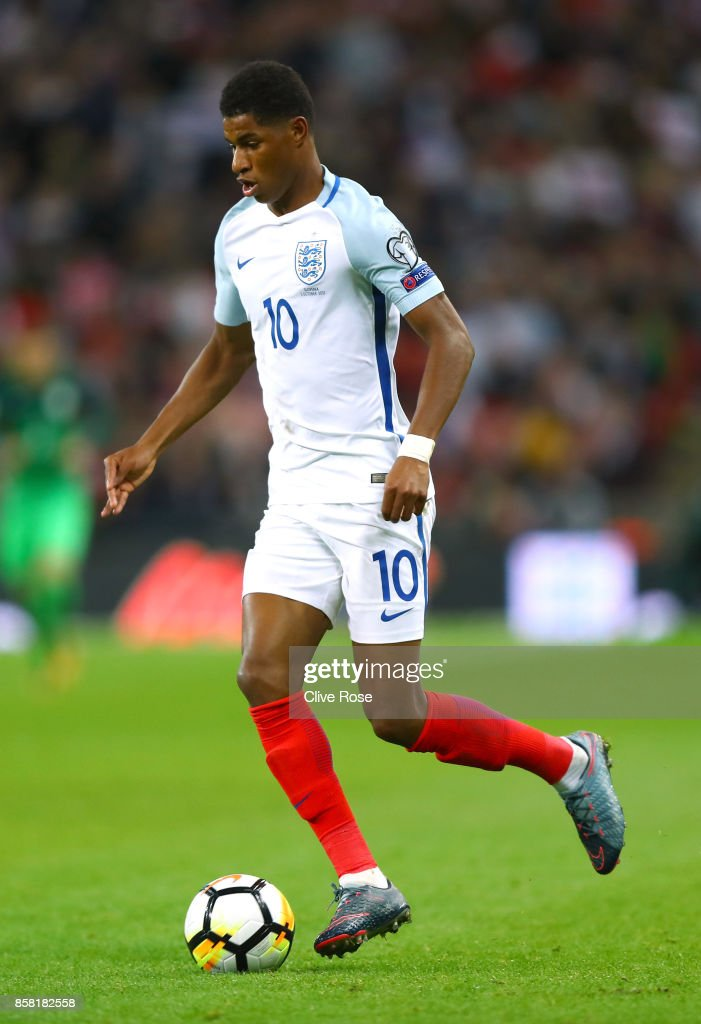 Marcus Rashford of England in action during the FIFA 2018 World Cup Group F Qualifier between England and Slovenia at Wembley Stadium on October 5, 2017 in London, England