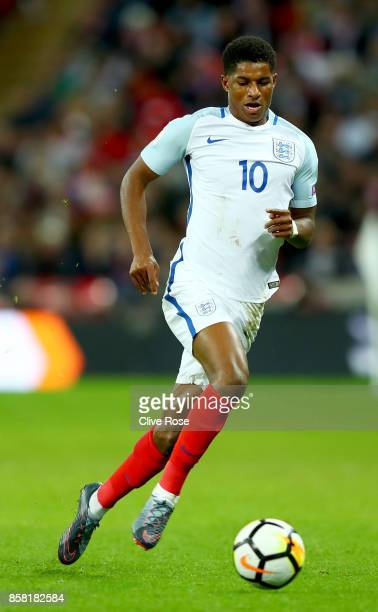 Marcus Rashford of England in action during the FIFA 2018 World Cup Group F Qualifier between England and Slovenia at Wembley Stadium on October 5...