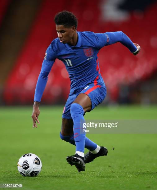 Marcus Rashford of England in action during the UEFA Nations League group stage match between England and Denmark at Wembley Stadium on October 14,...