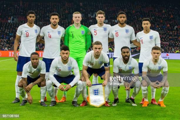 Marcus Rashford of England Kyle Walker of England goalkeeper Jorden Pickford of England John Stones of England Joe Gomez of England Jesse Lingard of...