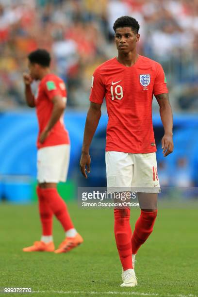Marcus Rashford of England looks dejected during the 2018 FIFA World Cup Russia 3rd Place Playoff match between Belgium and England at Saint...