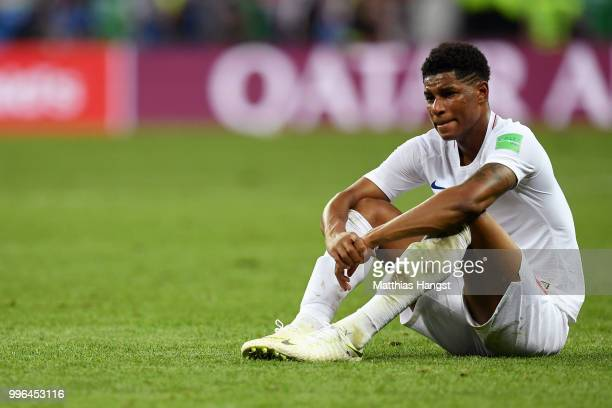 Marcus Rashford of England looks dejected following his sides defeat in the 2018 FIFA World Cup Russia Semi Final match between England and Croatia...