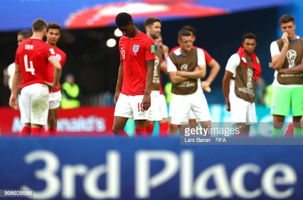 Marcus Rashford of England looks dejected following his sides defeat in the 2018 FIFA World Cup Russia 3rd Place Playoff match between Belgium and...