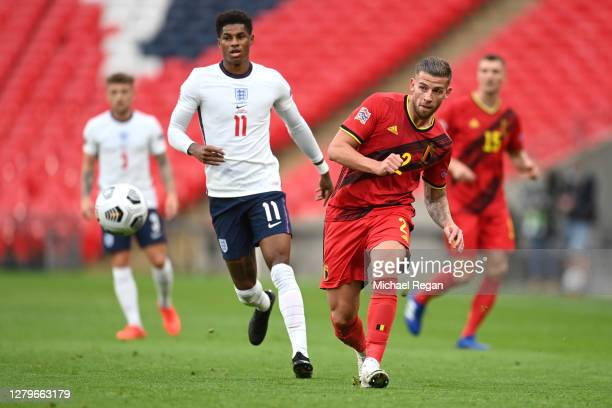Marcus Rashford of England looks on as Toby Alderweireld of Belgium shoots during the UEFA Nations League group stage match between England and...