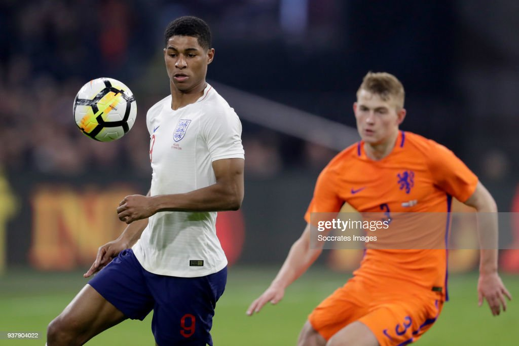 Marcus Rashford of England, Matthijs de Ligt of Holland during the International Friendly match between Holland v England at the Johan Cruijff Arena on March 23, 2018 in Amsterdam Netherlands