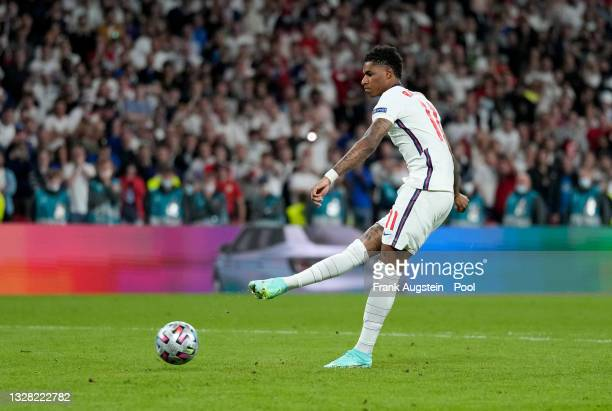 Marcus Rashford of England misses their team's third penalty in the penalty shoot out during the UEFA Euro 2020 Championship Final between Italy and...