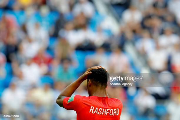 Marcus Rashford of England reacts after losing 2018 FIFA World Cup RussiaPlayOff for Third Place against Belgium at the Saint Petersburg Stadium in...