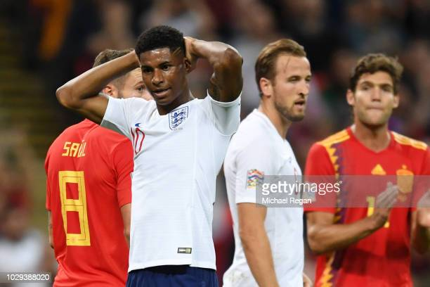 Marcus Rashford of England reacts after Rodrigo Moreno of Spain scored his team's second goal during the UEFA Nations League A group four match...
