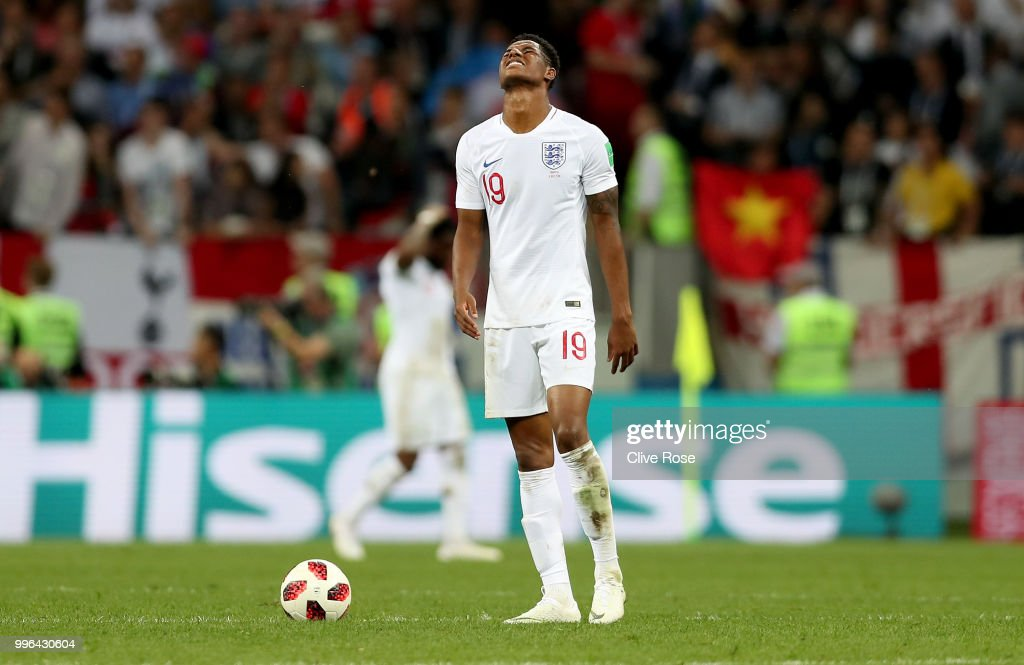 Marcus Rashford of England reacts following Croatia second goal during the 2018 FIFA World Cup Russia Semi Final match between England and Croatia at Luzhniki Stadium on July 11, 2018 in Moscow, Russia.