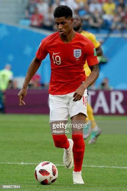 Marcus Rashford of England runs with the ball during the 2018 FIFA World Cup Russia 3rd Place Playoff match between Belgium and England at Saint...