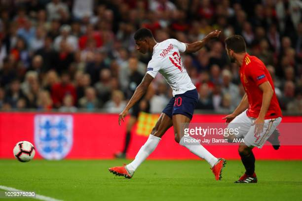 Marcus Rashford of England scorers a goal to make it 10 during the UEFA Nations League A group four match between England and Spain at Wembley...