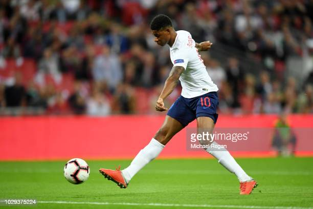 Marcus Rashford of England scores his sides first goal during the UEFA Nations League A group four match between England and Spain at Wembley Stadium...