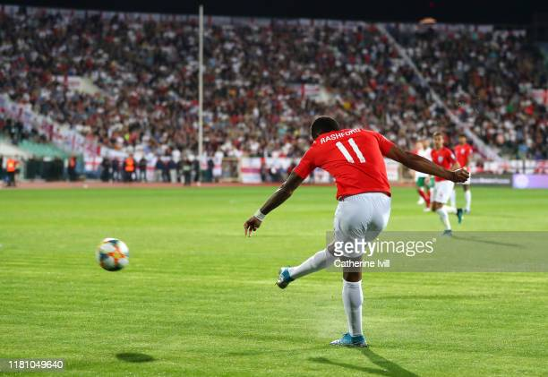 Marcus Rashford of England scores his sides first goal during the UEFA Euro 2020 qualifier between Bulgaria and England on October 14, 2019 in Sofia,...