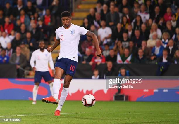 Marcus Rashford of England scores his team's first goal during the international friendly match between England and Switzerland at The King Power...