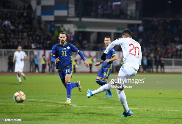 Marcus Rashford of England scores his team's third goal during the UEFA Euro 2020 Qualifier between Kosovo and England at the Pristina City Stadium...
