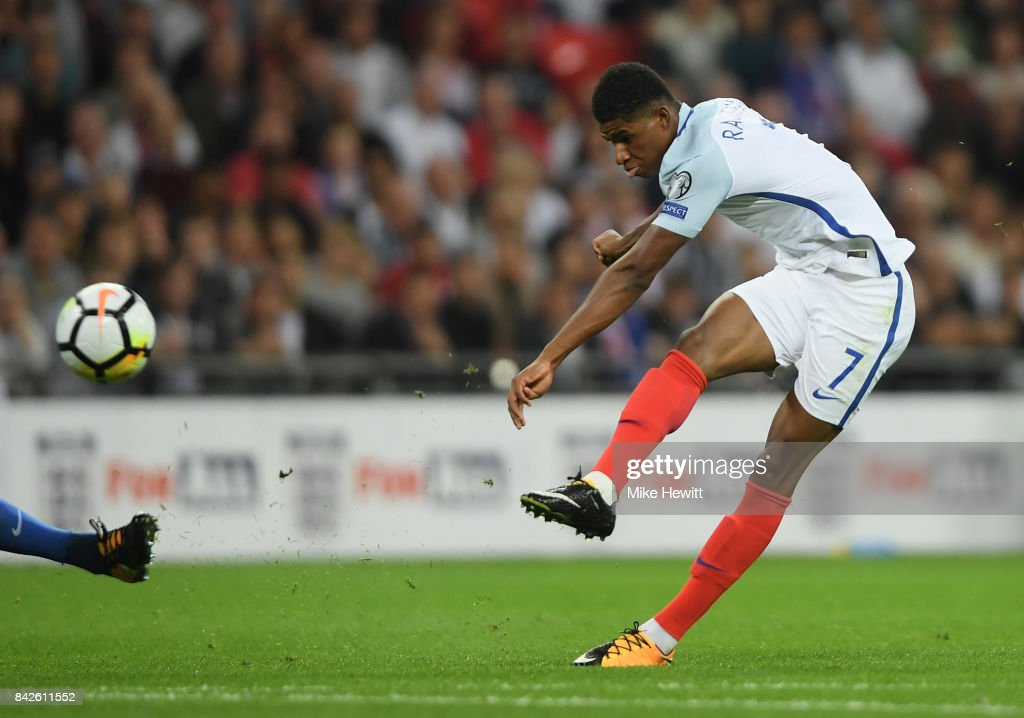 Marcus Rashford of England scores their second goal during the FIFA 2018 World Cup Qualifier between England and Slovakia at Wembley Stadium on September 4, 2017 in London, England.