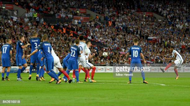 Marcus Rashford of England shoots from a free kick during the FIFA 2018 World Cup Qualifier between England and Slovakia at Wembley Stadium on...